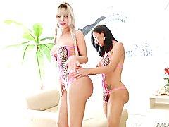 Sabrina suzuki and jhenifer dalbosco share a schlong