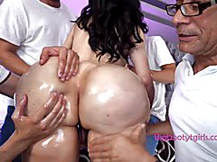 Enormous butt gangbang with shemale abigail lust