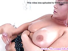 Blond hottie tranny shemale jerking off after playing with her booty