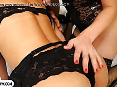 Tran on t-girl gangbang with a guy mixed in there too